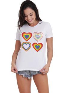 Camiseta Basica Joss Lgbt 4 Corações Branca - Kanui