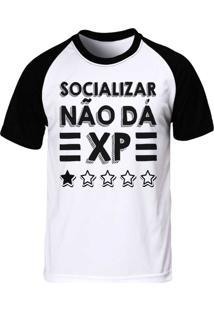 Camiseta Raglan Blitzart Socializar Não Dá Xp Branca