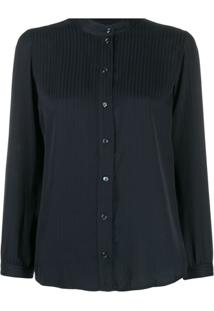 A.P.C. Long-Sleeve Fitted Blouse - Azul