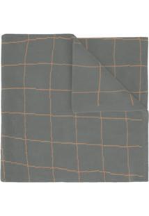 Umd Cachecol De Cashmere 'Grid' - Cinza