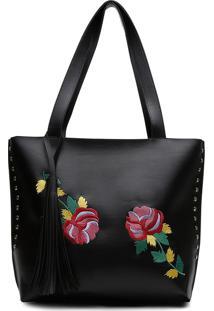 Bolsa Alice Monteiro Sacola Com Metais Bordado Floral Grande Franja Preta