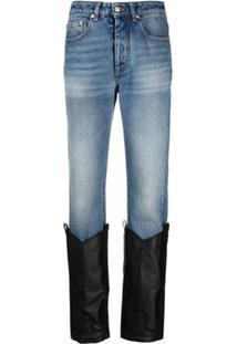 Mm6 Maison Margiela Calça Jeans Com Recorte Na Barra - Azul