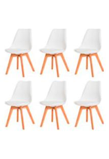 Kit 6 Cadeiras Leda Saarinen Design Branca Sala Cozinha Jantar