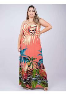 Vestido Longo Almaria Plus Size Peri Estampado Ver