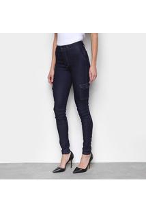 Calça Jeans Skinny Biotipo Bolso Lateral Cintura Média Feminina - Feminino