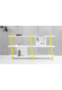 Estante Para Livros Pequena Branca Sue - Estante Baixa Para Quarto Com Pés De Madeira Cor Amarela - 180X38X100 Cm