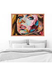 Quadro Love Decor Com Moldura Painting Girl Rose Metalizado Médio