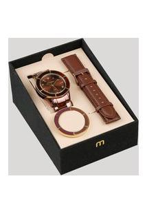 Relógio Analógico Mondaine Troca Pulseira Feminino - 99265Lpmvms5 Marrom