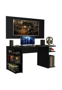 Mesa Gamer Madesa 9409 E Painel Para Tv Até 50 Polegadas - Preto Preto