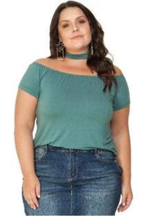 Blusa Viscolycra Ombro A Ombro Miss Masy Plus - Feminino-Verde