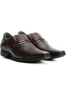 Sapato Social Couro Pegada Com Fivela - Masculino-Marrom