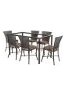 Jogo De Jantar 6 Cadeiras Turquia Tabaco A36 E 1 Mesa Retangular Sem Tampo Ideal Para Área Externa Coberta