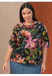 Blusa Floral Com Mangas 3/4 Plus Size