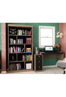Escrivaninha Com 3 Gavetas E Estante Para Escritório-Ho-2957-Hecol - Avela / Onix