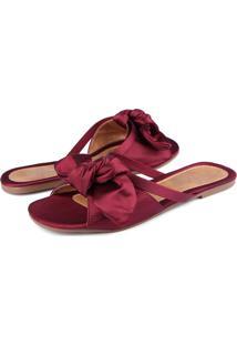 Rasteira Trivalle Shoes Cetim Marsala