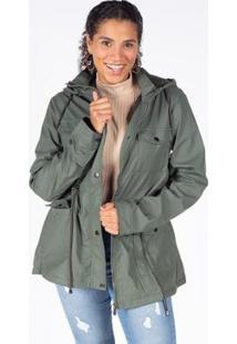 Jaqueta Besni Parka Capuz Pêlo Feminina - Feminino-Verde Escuro