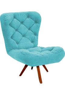 Poltrona Decorativa Botonê Iris Suede Azul Tiffany Com Base Giratória Madeira - D'Rossi