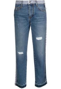 Ermanno Scervino Distressed Straight-Leg Jeans - Azul