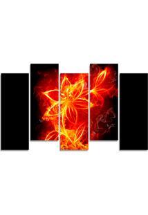 Quadro Decorativo Fogo Flor Vermelha Casa Sala Quarto - Vermelho - Dafiti