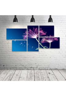 Quadro Decorativo - Beautiful-Pink-Animation-With-Blue-Background - Composto De 5 Quadros
