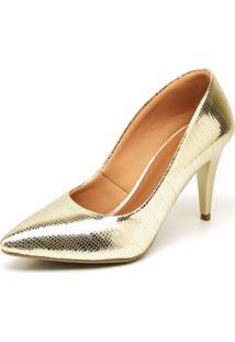 Scarpin Casual Salto Metalizado Médio Ellas Online Dourado