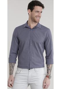 Camisa Slim Xadrez Azul Marinho