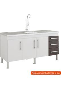 Balcão De Cozinha Flex 3 Pt 3 Gv Branco E Café