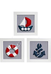 Trio De Quadros Marinheiro Quarto Náutico Bebê Infantil Potinho De Mel Marinho