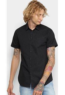 Camisa Slim Fit Manga Curta Forum Masculina - Masculino-Preto