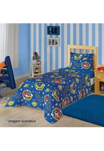 Jogo De Cama Patrulha Caninaâ® Solteiro- Azul & Amarelo
