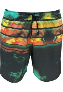Shorts Alkary Elástico Laranja E Verde