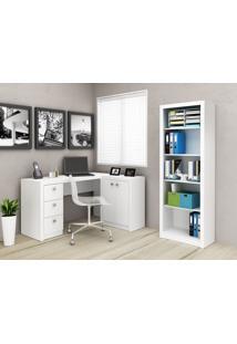 Conjunto Home Office 2 Peças Tecno Mobili: 1 Escrivaninha Com Balcão E 1 Armário - Branco - Multistock