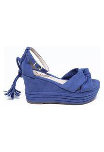 Sandalia Plataforma Anabela Amarrar Na Perna Azul Denin