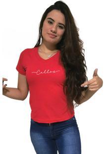 Camiseta Feminina Gola V Cellos Stretched Premium Vermelho - Kanui