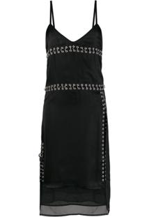 Diesel Slip Dress De Cetim - Preto