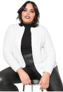 Blazer Gris Plus Tricot Básico Branca - Kanui