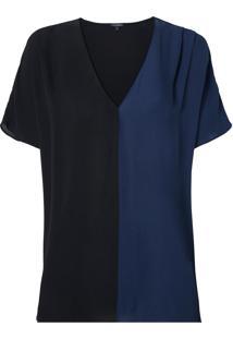 Blusa Le Lis Blanc Bicolor Lou Lou Preto Azul Marinho Feminina (Preto/ Dark Blue, Gg)
