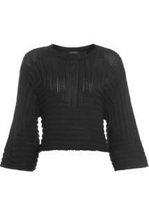 Blusa Feminina Knit Graphic - Preto