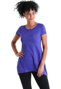 Camiseta Líquido Evasê Levíssima Feminina - Feminino-Roxo