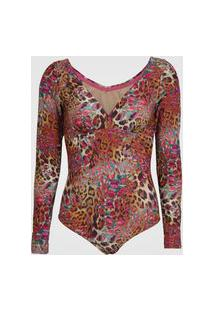 Body Acqua By Classic Animal Print Bege/Rosa