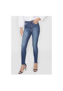 Calça Jeans Lez A Lez Skinny Barra Assimétrica Azul