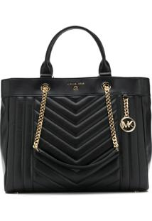 Michael Michael Kors Quilted Logo Tote - Preto