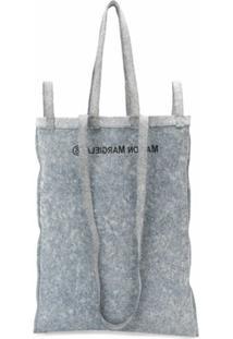 Mm6 Maison Margiela Bolsa Tote Jeans Com Logo - Azul