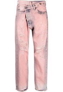 R13 Calça Jeans Assimétrica Com Lavagem - Rosa