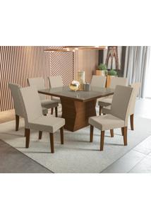 Mesa De Jantar Kappesberg Tília 8 Cadeiras Walnut E Geometrico Bege