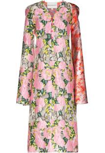 Shuting Qiu Vestido Reto Em Jacquard Floral - Rosa