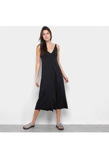 Vestido Osklen Midi Decote V - Feminino-Preto