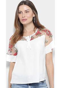 Blusa Mi Tule Bordada Amarração Feminina - Feminino-Branco