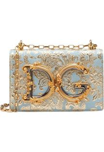 Dolce & Gabbana Bolsa Tiracolo Com Bordado Floral - Azul