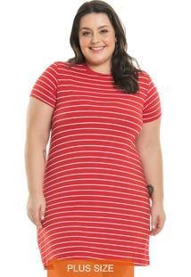 Vestido Tee Stripes Vermelho